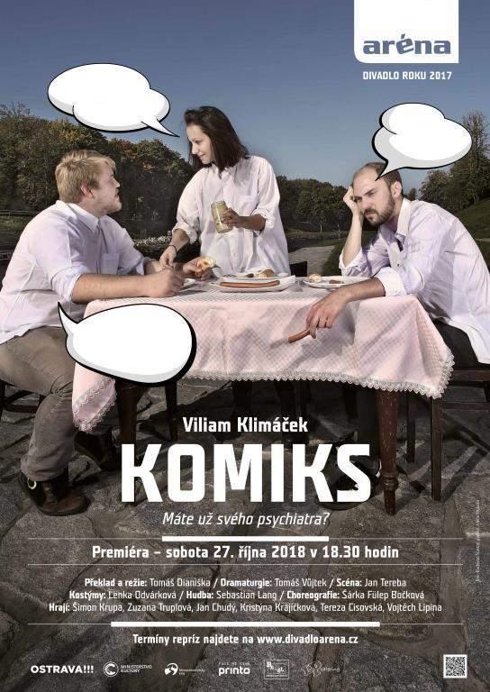 Zleva Jan Chudý, Kristýny Krajčíková a Vojtěch Lipina v divadelní hře Viliama Klimáčka Komiks