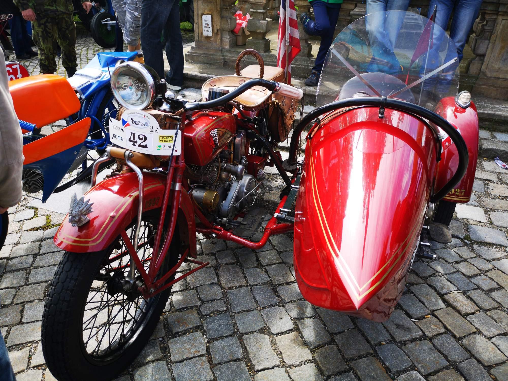 Motocykl americké značky Indian byl jediným exemplářem se sajdkárou. Foto: Jiří Černý