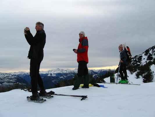 výstup na Lawinenstein se dařil na sněžnicích, botách i skialpech, dolů na lyžích a pekáčích