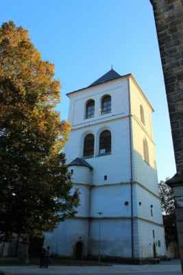 Pohled na zvonici Vysoké Mýto - jde o mohutnou renesanční věž, která byla postavena mezi lety 1583 - 1585, v sousedství kostela sv. Vavřince. V současnosti slouží věž k sezonním výstavám Městské galerie.