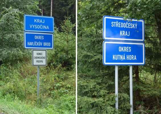 Sjíždíme do Vlastějovic, opouštíme Vysočinu a vjíždíme do Středočeského kraje.