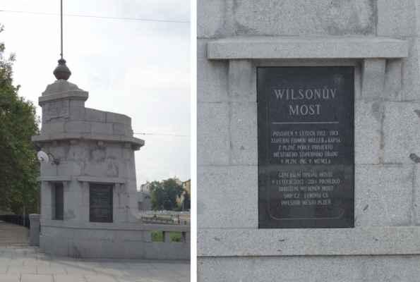 """Z nádraží jsme si to namířili k Wilsonovu mostu přes Radbúzu. Wilsonův most byl postaven v roce 1913 podle projektu Ing. V. Mencla, zhotovitelem byli """"úředně autorizovaní stavební inženýři Müller & Kapsa, podnikatelé staveb v Plzni"""". Od roku 1988 je chráněn jako kulturní památka České republiky."""